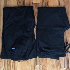 2 GREYS ANATOMY black scrub pants